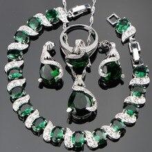 グリーンジルコンブライダルシルバー 925 ジュエリーセット女性チャームブレスレットペンダント & ネックレスリングイヤリング石セットギフトボックス