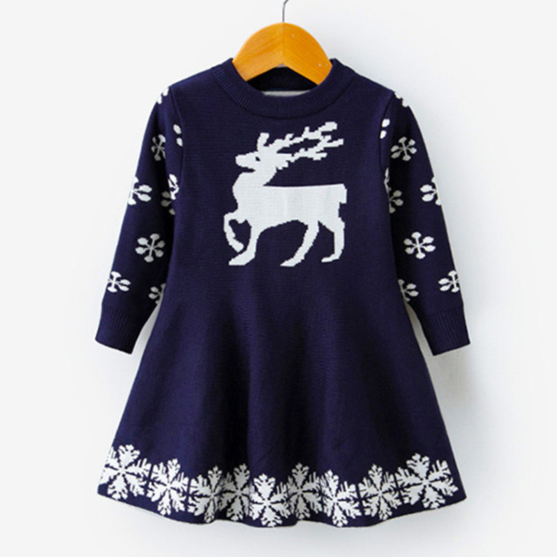H9c99930b38384392a0c9c8790843f5fep 2019 Winter Knitted Chiffon Girl Dress Christmas Party Long Sleeve Children Clothes Kids Dresses For Girls New Year Clothing