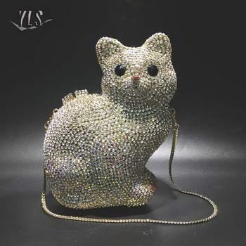 Women Rhinestone Bags Evening Purse Luxury Crystals Silver Gold Cute Cat Shape Clutch Bag Party Cocktail Diamond Handbags