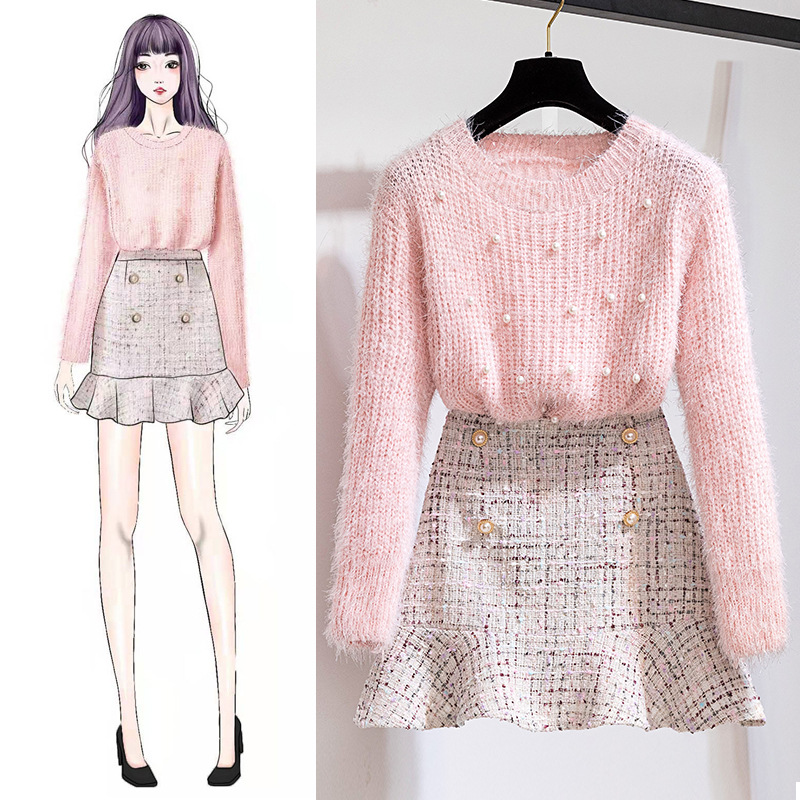 Beads Sweater Skirt Two-Piece Set Autumn And Winter Hipster Western Style Goddess Fan Net Red Machine WOMEN'S Suit Playful
