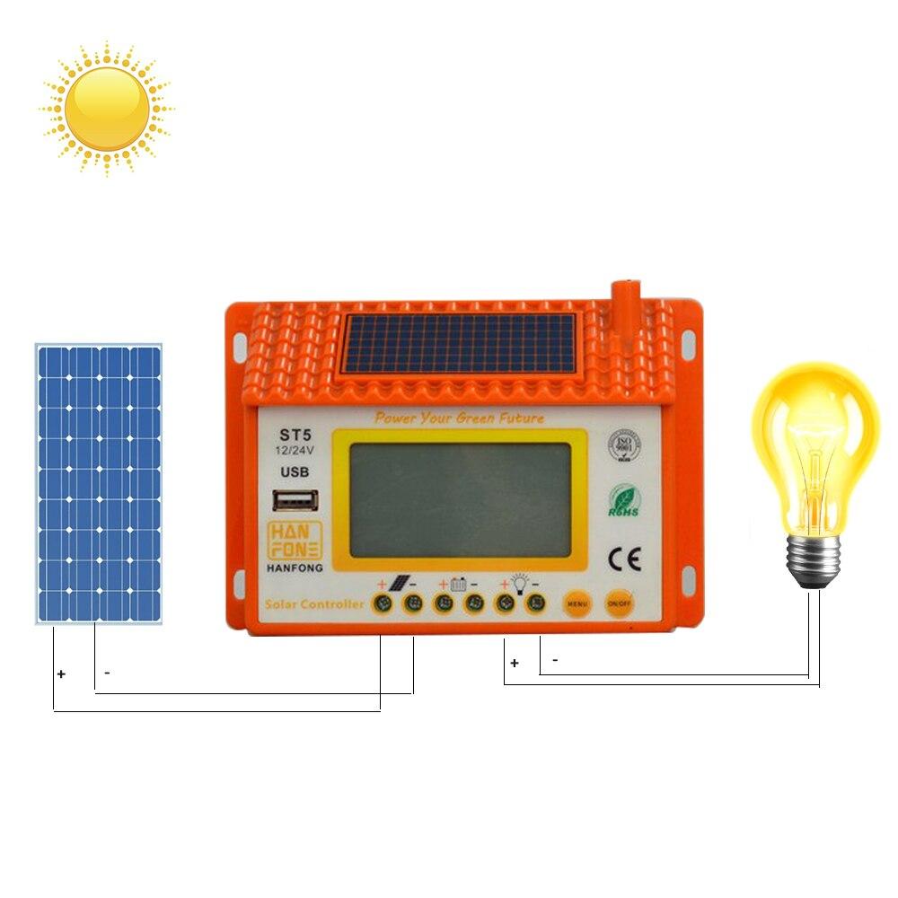 controlador solar 12 24v 20a backlight lcd duplo usb controlador de carga solar painel a prova