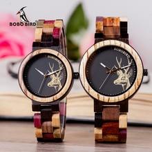 BOBO kuş lüks aşıklar ahşap çift saatleri erkekler kadınlar el yapımı kuvars saatı hediyeler öğe relogio masculino Dropshipping