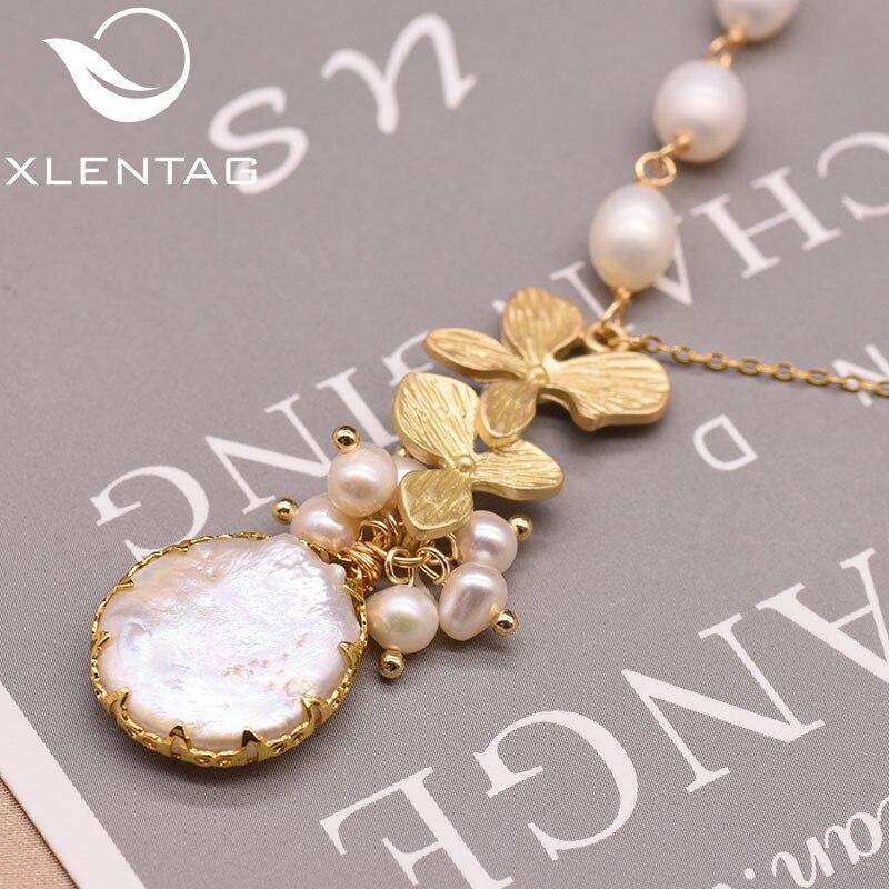 XlentAg Natural Fresh Water Perarl Fine Minimalist Pendant Necklace For Women Girl Birthday Wedding Colgantes Mujer Moda GN0155