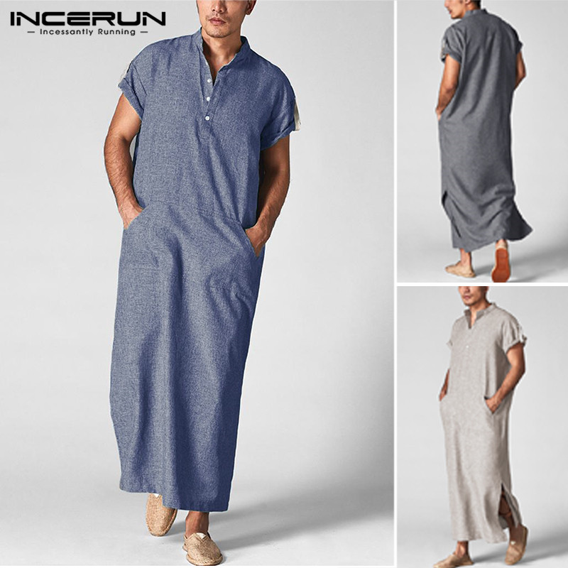Robes Thobe Kaftan-Stand-Collar Short-Sleeve Pockets Arab Jubba Islamic Muslim Middle-East