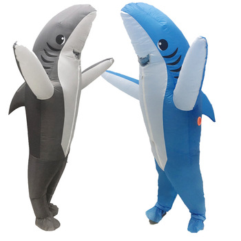 Adult Sharks Inflatable Costumes Halloween Cosplay Costume Seafish gray Shark Mascot Fancy Party Role Play Peformance Disfraz