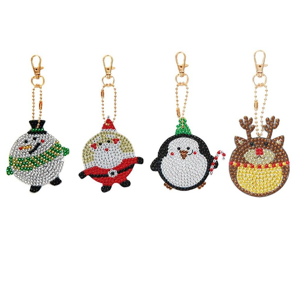 Llaveros con pintura de diamantes de Forma especial para mujer, bolsa colgante, joyería, llavero, bordado, punto de cruz, regalos de navidad