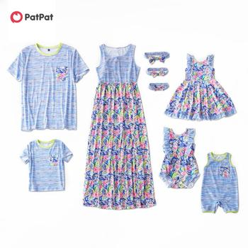 PatPat 2020 New Mosaic Family Matching Floral Print Flutter-sleeve Tank Dresses Stripe Tee For Mom Dad and Baby Girl and Boys цена 2017