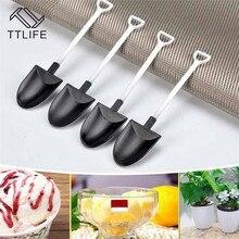 TTLIFE 50 PCS Ice Cream Spoon Home Garden Plastic Disposable Dessert Stick Cake Scoop Shovel Shape Party Cutlery Utensils