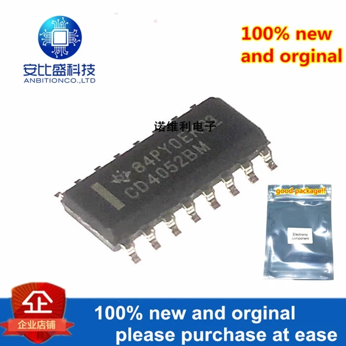 10pcs 100% New And Orginal CD4052BM96 SOIC-16 CMOS Analog Multiplexers---Demultiplexers With Logic Level Conversion In Stock