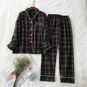 Image 3 - Mannen En Vrouwen Liefhebbers Pyjama Set Eenvoudige Stijl Plaid Vest + Broek Paar Losse Nachtkleding Comfort Katoen Homewear Voor Herfst