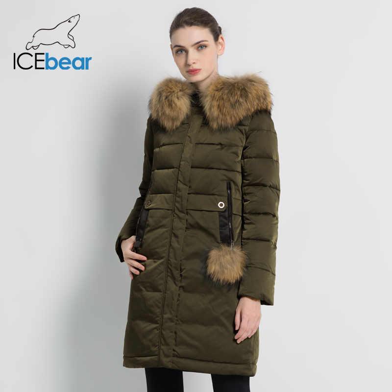 ICEbear 2019 hiver femmes épais chaud manteau coupe-vent parka longue veste mince avec col en fourrure marque vêtements manteau GWD18253