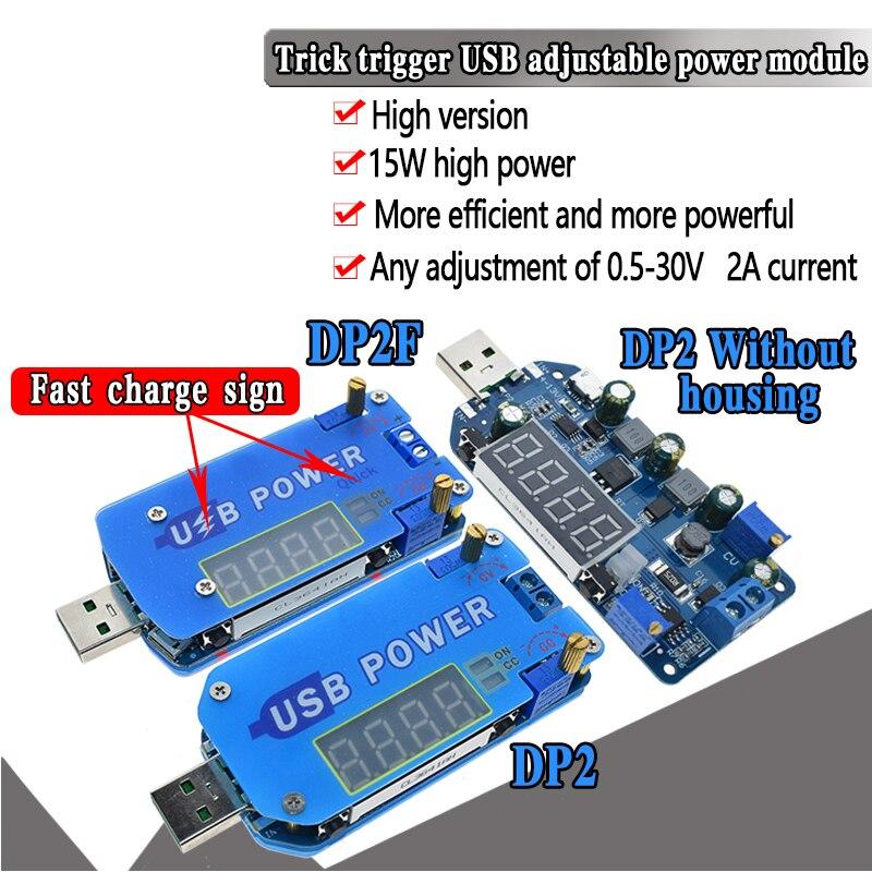 DP2F DC DC Adjustable Usb Laboratory Power Supply DC 0.5-30V 15W Voltage Regulator QC2.0 QC3.0 AFC FCP Quick Charge Trigger
