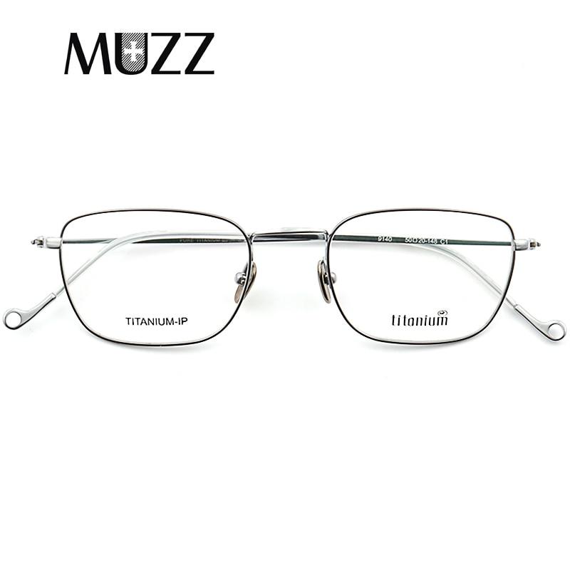 Pure Titanium Glasses Frame Men Square Prescription Eyeglasses Eyewear Vintage Myopia Optical Spectacles frame retro Eye Glasses
