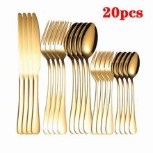 Gold Cutlery Set Stainless Steel Dinner Golden Dinnerware Knives Forks Spoons Set Kitchen Complete Tableware Set Golden Cutlery