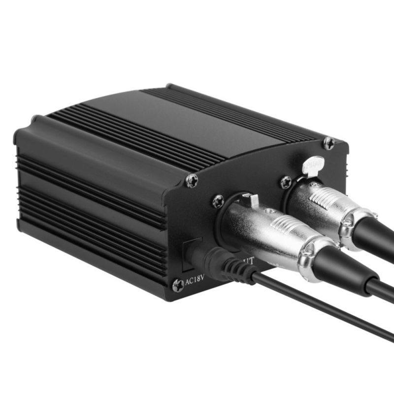 <font><b>48V</b></font> Phantom Power Supply with One XLR Audio Cable and AC220V EU <font><b>Adaptor</b></font> for Condenser Microphone Studio Music Voice Recording image