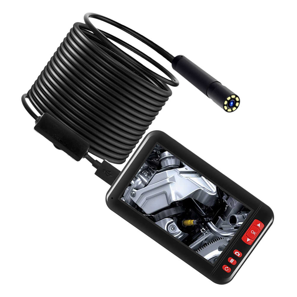 8mm 1080P obiektyw ekran endoskop inspekcja kamery wodoodporny 4.3 Cal HD TFT ekran IPS kamera samochodowa monitora naprawy lub akcesoria