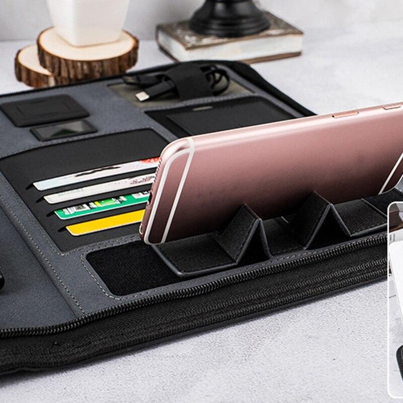 A4 taille voyage cahier Composition livre Business Manager sac dossier avec chargeur d'alimentation sans fil support de sac Mobile - 6
