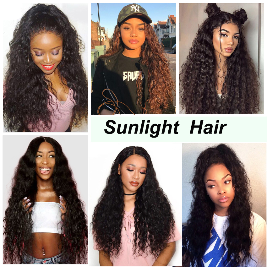 Brazilian Water Wave Bundles Sunlight Human Hair Weave Bundles Natural Water Wave Hair Extensions 1B Non Remy Hair 4 / 3 Bundles