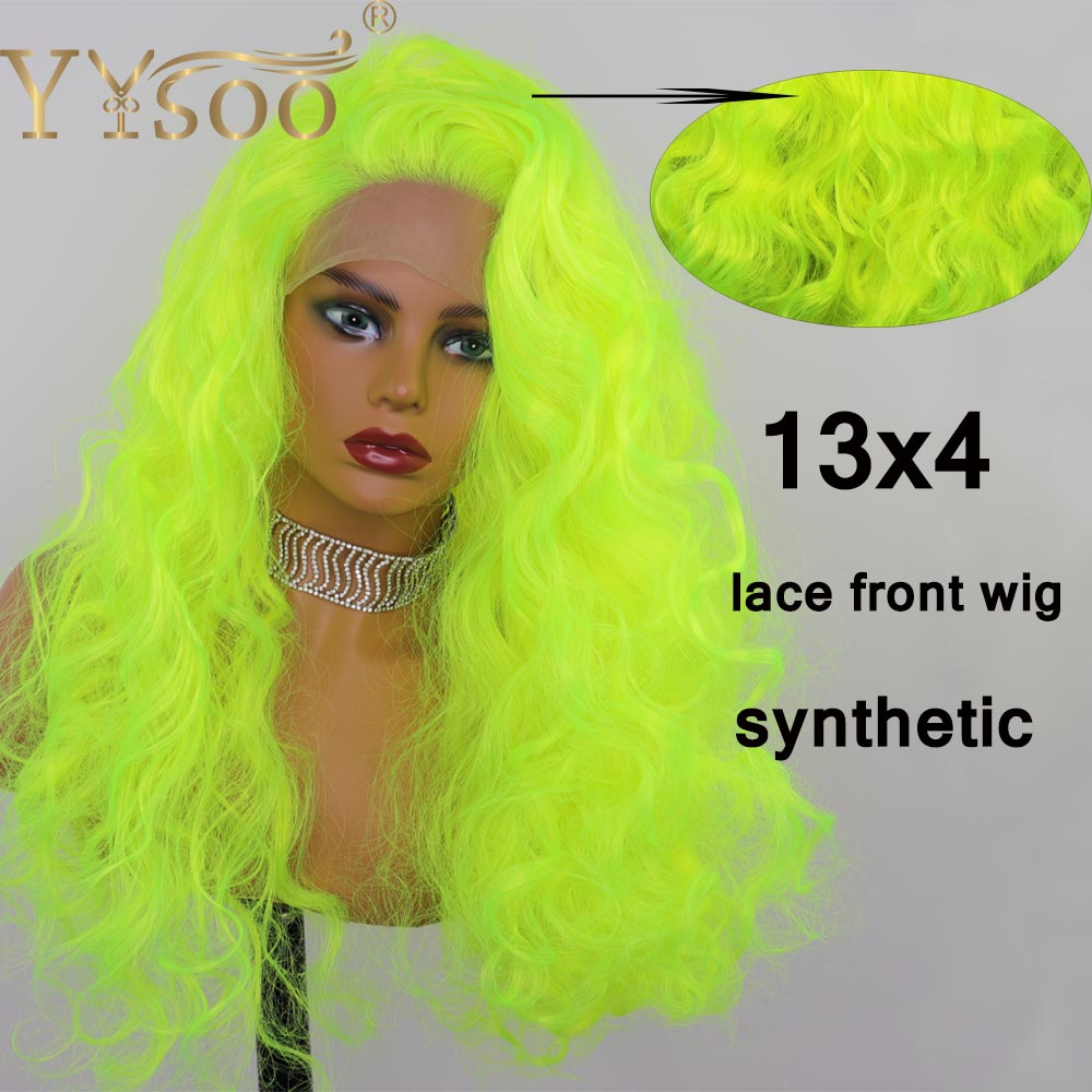 YYsoo Fluorescent Green Synthetic Lace Front Wigs for Women13X4 Glueless Kinky Curly Lace Wig Long Half Hand <font><b>Tieds</b></font> Curly Wigs image