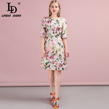 LD LINDA DELLA 2019 Autumn Women Dress Runway Fashion Designer Half Sleeve Gorgeous Button Lily Printed Jacquard New Ladys