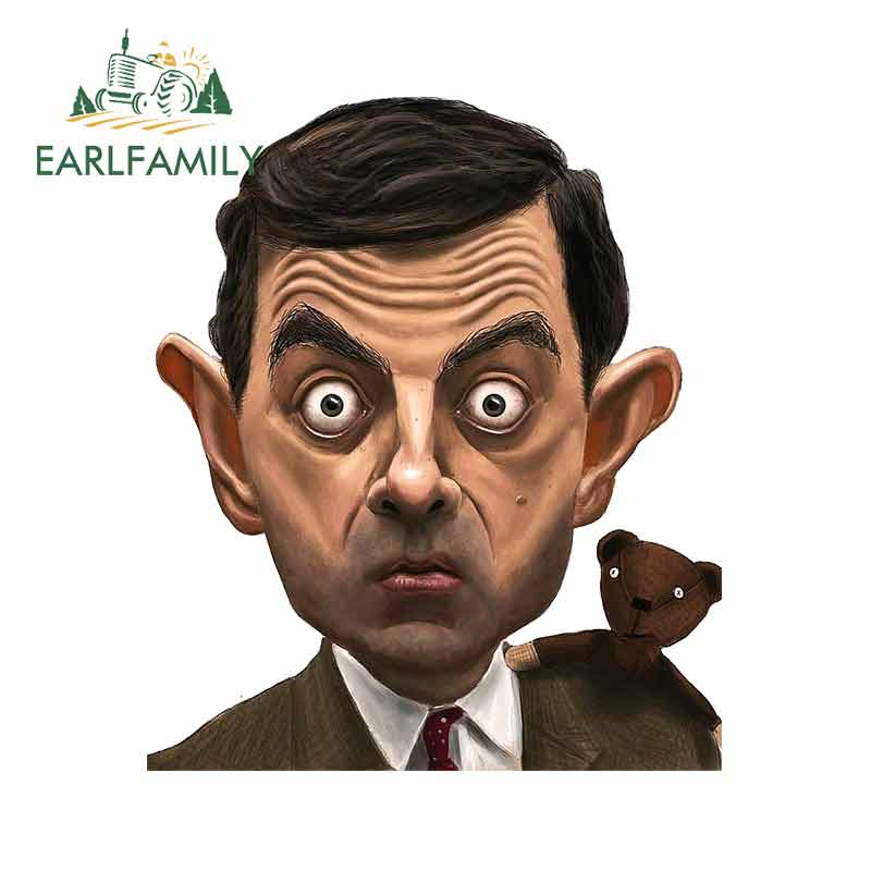 EARLFAMILY 13cm x 11.1cm for <font><b>Mr</b></font> <font><b>Bean</b></font> & Teddy <font><b>Cartoon</b></font> Rowan Atkinson Car Stickers and Decals Fashion Waterproof Sunscreen image