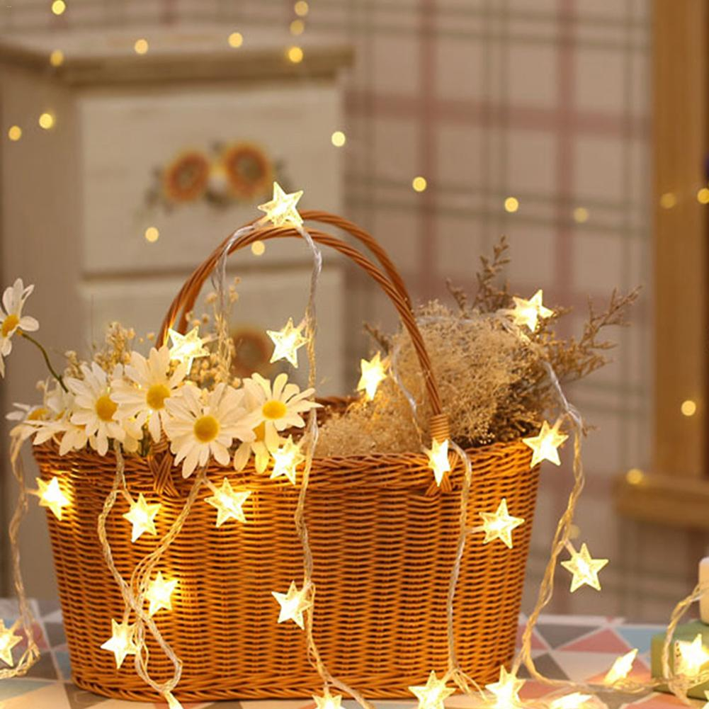 6M 40 LED Star Light String Twinkle Garlands Battery Powered Christmas Lamp Holiday Party Wedding Decorative Fairy Lights