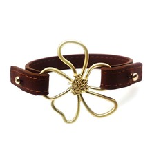 New Leather Bracelet Wrap All-Match Flower Wide Bracelet For Women Europe Fashion Hand