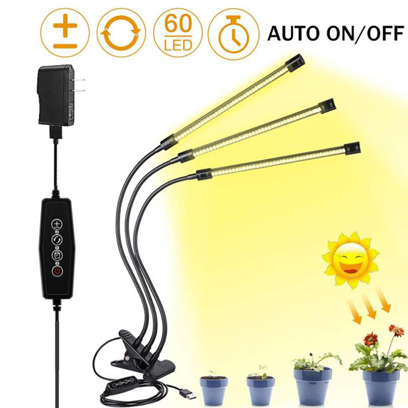 LED Phyto Timer Seedling Bulbs 3 Grow Full Indoor Head Plant 5V Spectrum USB For Lamp Flexible Light Fitolamp Clip DC Dimmable