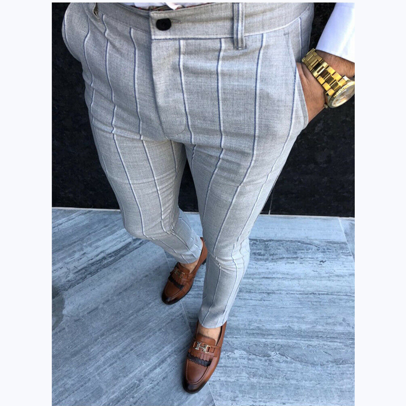 Luxury Men's Formal Striped Pants Slim Fit Casual Business Office Long Trousers Smart Casual Pencil Pants New 2019 Autumn Winter