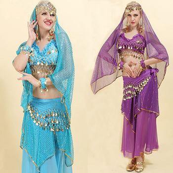 New Adult Bollywood Dance Costumes Indian Belly Costume Set For Women Chiffon Woman - sale item Stage & Dance Wear