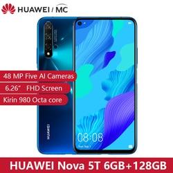 Перейти на Алиэкспресс и купить global version huawei nova 5t kirin980 octa core smartphone 48mp cameras 32mp front camera cellphone 6.26'' 6g/8g128g android 9