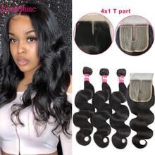 Bundles 4X1 Closure Human-Hair-Extensions with 4x1/T-part/Lace/Closure Weave Body-Wave