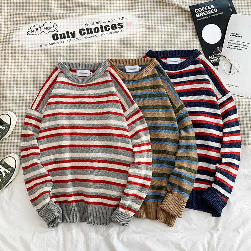 Jersey para hombre Hip Hop holgado Harajuku arcoíris a rayas Streetwear moda tejer suéteres para hombre jerseys a rayas elegante