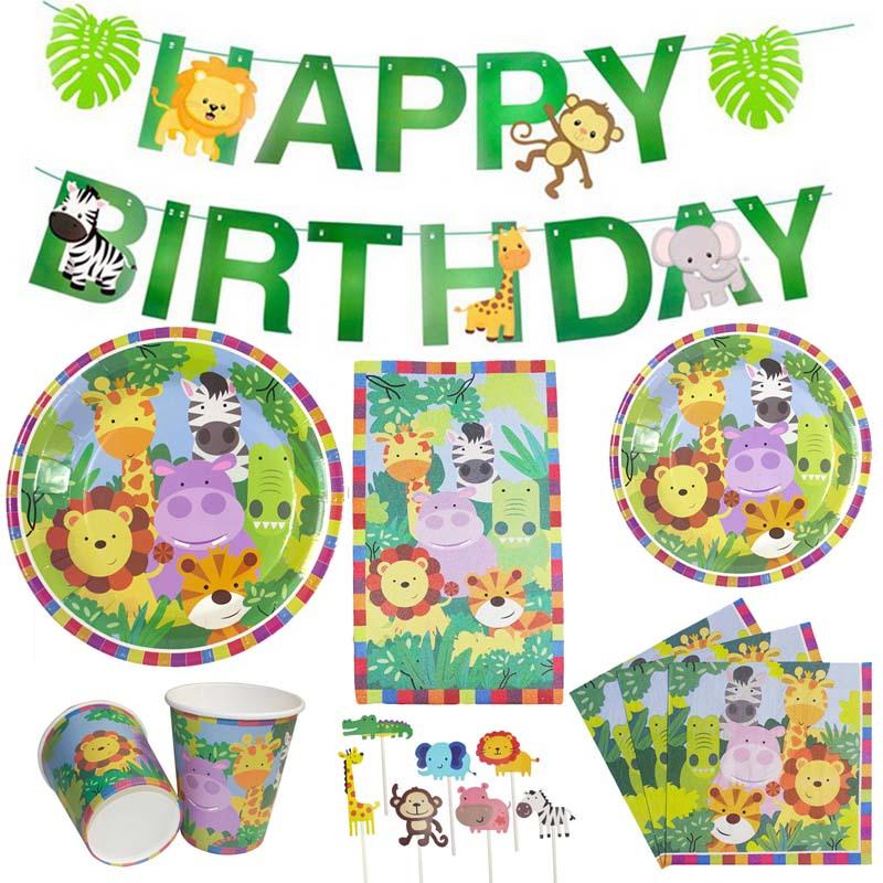 Jungle Birthday Party Disposable Tableware Safari Decoration Supplies Animal Plates Cups Napkins