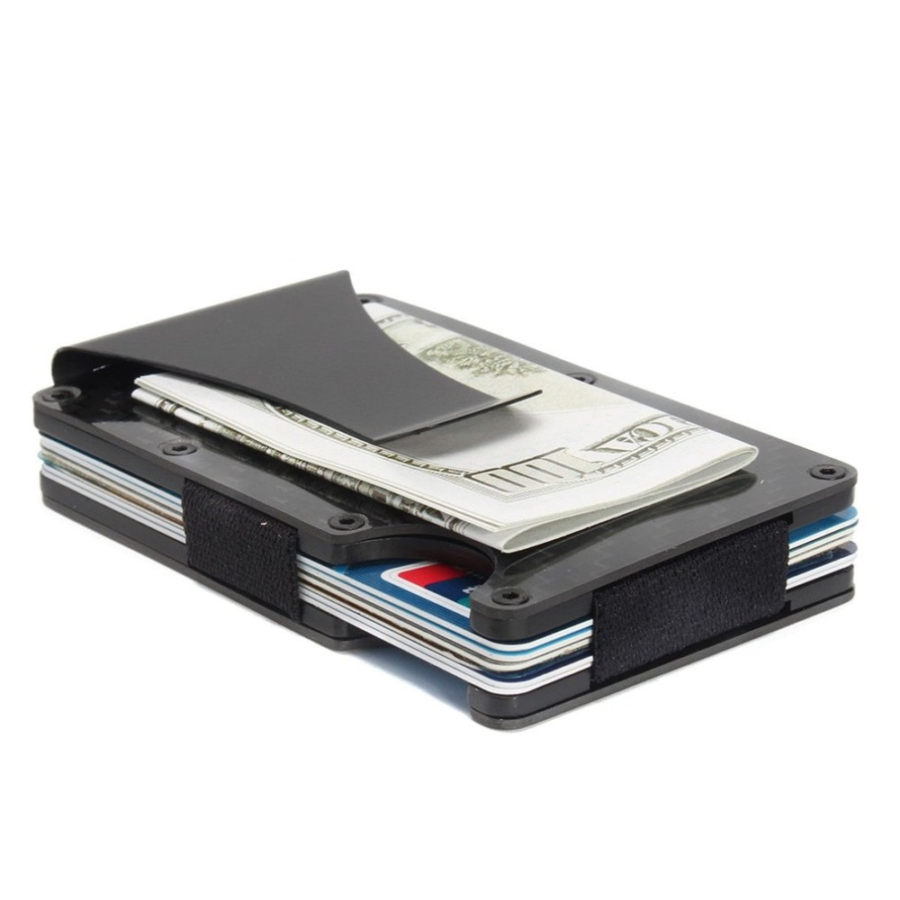 Card Holder Slim Carbon Fiber Credit Card Holder Metal Wallet Money Clip Anti Scan Function Hold Card Coins Cash Toiletry Kits