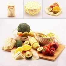 Многоразовая пищевая обертка пчелиного воска и сетка производят пакет-обертка пчелиного воска-(4 упаковка еды Пенал-рулон+ 3 сетки производят пакеты для хранения