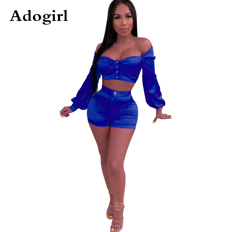 Adogirl Sexy Solid ColorOff The Shoulder 2 Piece Set Long Lantern Sleeve Crop Top + Shorts Women Sets Club Bodycon Outfits
