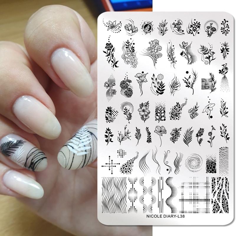 Трафареты NICOLE DIARY для стемпинга ногтей, пластины из нержавеющей стали с большими листьями, цветами и линиями, прямоугольные инструменты для ...