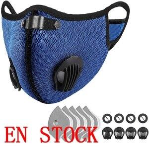 Маска для лица моющаяся велосипедная маска с 5 фильтрами 4 воздушный клапан Полулицо многоразовые респираторы с активированным углем для рта