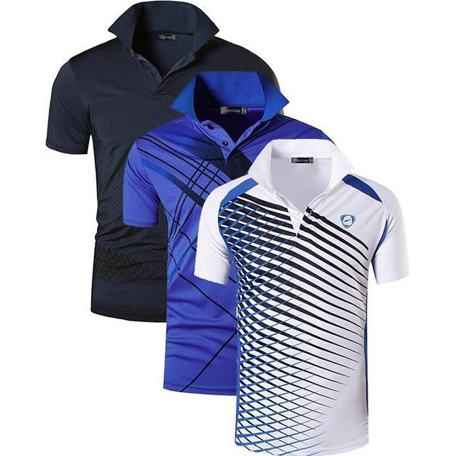 Jeansian 3 pack 남자 스포츠 티 폴로 셔츠 polos poloshirts 골프 테니스 배드민턴 드라이 피트 반소매 lsl195 packe