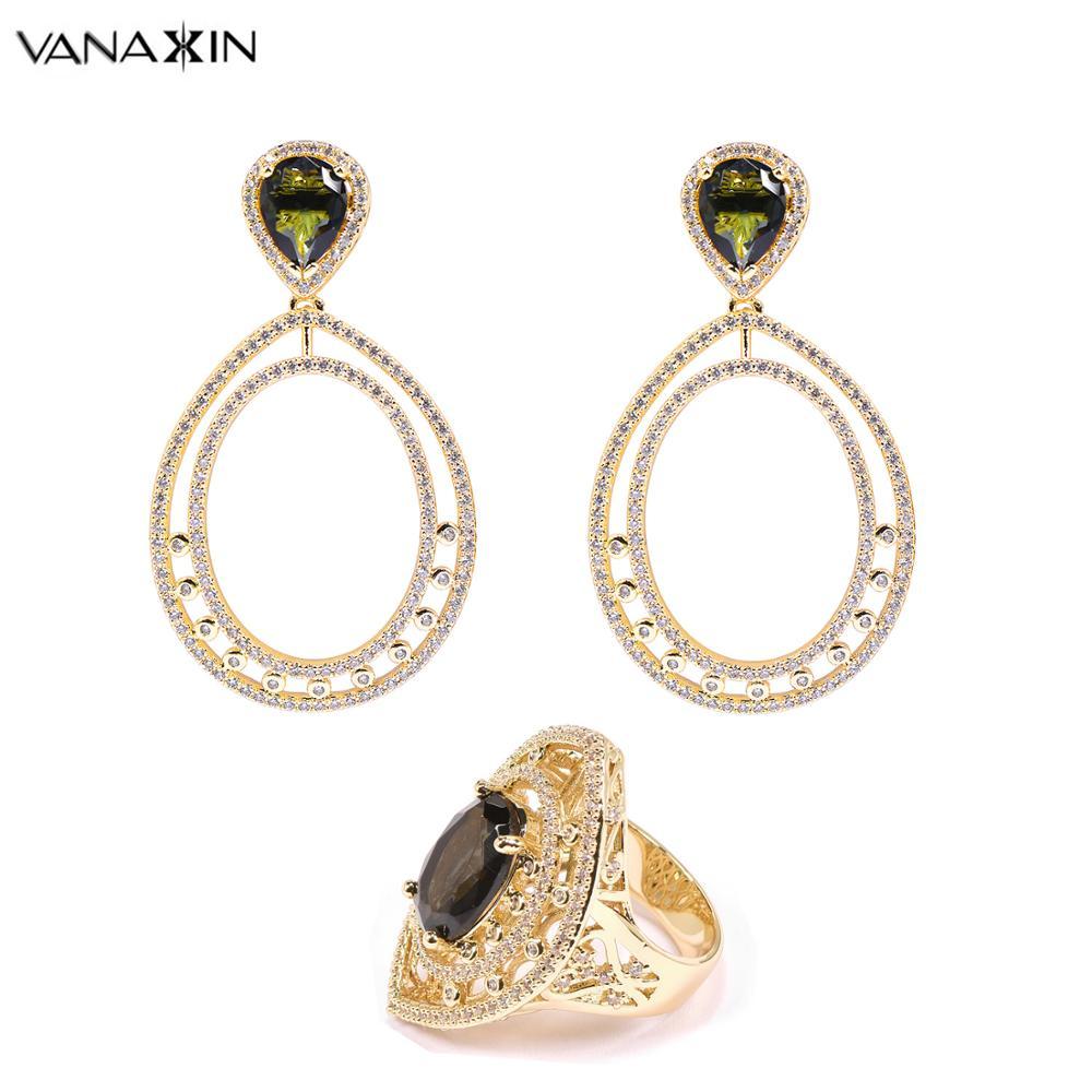 VANAXIN mode bijoux ensembles pour femmes boucles d'oreilles et bagues nouveauté 2019 couleur or fête bijoux à la mode grand cadeau cubique Zircon