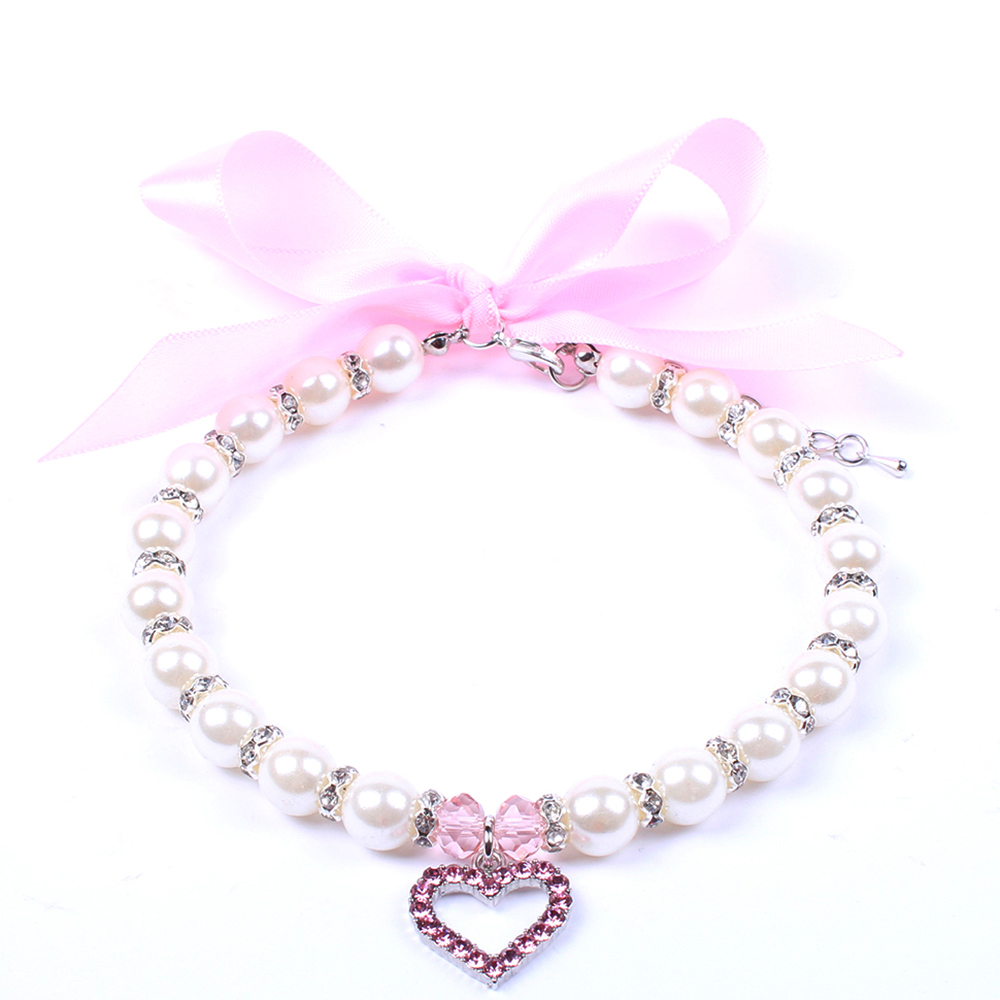 Pet Dog Pearls Necklace Collar with Bling Heart Charm Pet Puppy Wedding  Jewelry Accessories for Female Dogs Cats