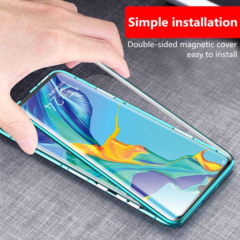 360 полная защита магнитный металлический корпус для Samsung Galaxy A7 A9 2018 A50 A60 A70 S10 Plus Передняя Задняя крышка из закаленного стекла