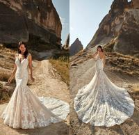 2021 Bridal Gowns Wedding Dress Sexy V Neck Sleeveless Boho Lace Appliques Plus Size Bohemian Beach Mermaid Wedding Dresses