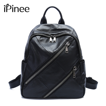 iPinee Genuine Leather Backpacks Women Luxury Soft Real Cow Leather Backpack for Travel Black Fashion Designer Back Pack Bag new cow genuine leather men backpacks fashion real natural leather student backpack boy luxury brand lager computer laptop bag