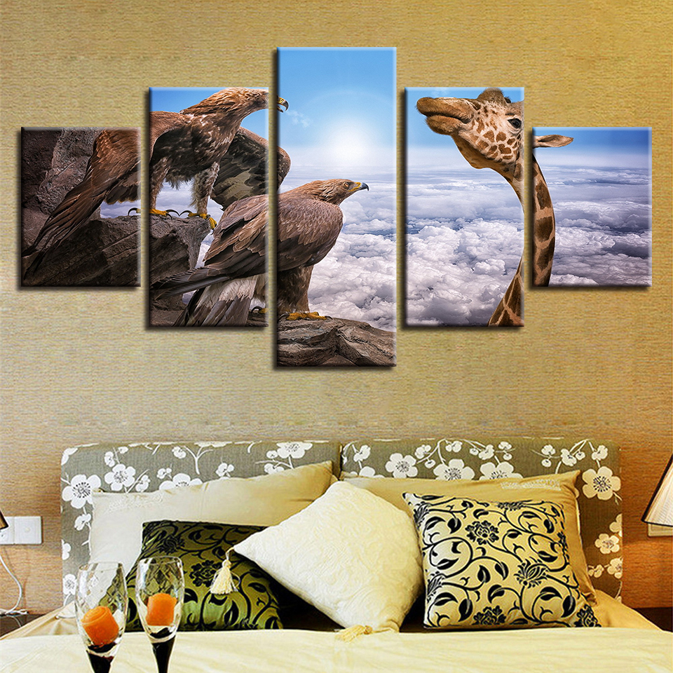 Canvas Wall Art Printed Animal Pictures Family Living Room Wall Decoration 5 Pieces Snow Leopard Scenery Modular Canvas Painting Poster