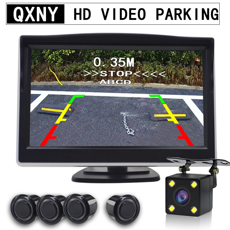 Car Video Parking Sensor Auto Reverse Backup Radar Backing Monitor Display Scree Assistance and Step-Up Alarm Show Distance