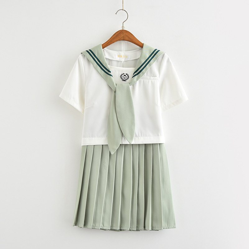 Matcha Green JK Uniform Set Japanese Female Student School Uniform Pure Female Student Cosplay Summer Skirt Suit Sailor Suit