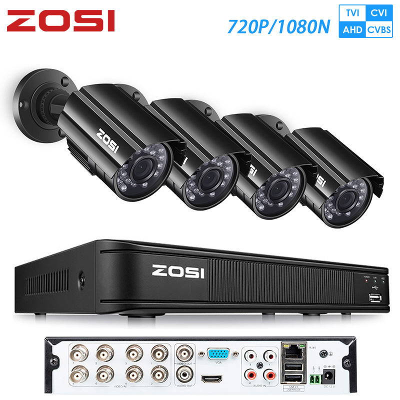 ZOSI 8ch Video Surveillance 720P AHD CVI TVI Security System DVR Kit With Nightvision Street Camcorder CCTV Kit Videcam Camera