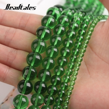 Natural Stone Green Glass Stone Beads Round Green Loose Beads For Jewelry DIY Making Bracelet Accessories 15 4/6/8/10/12mm image